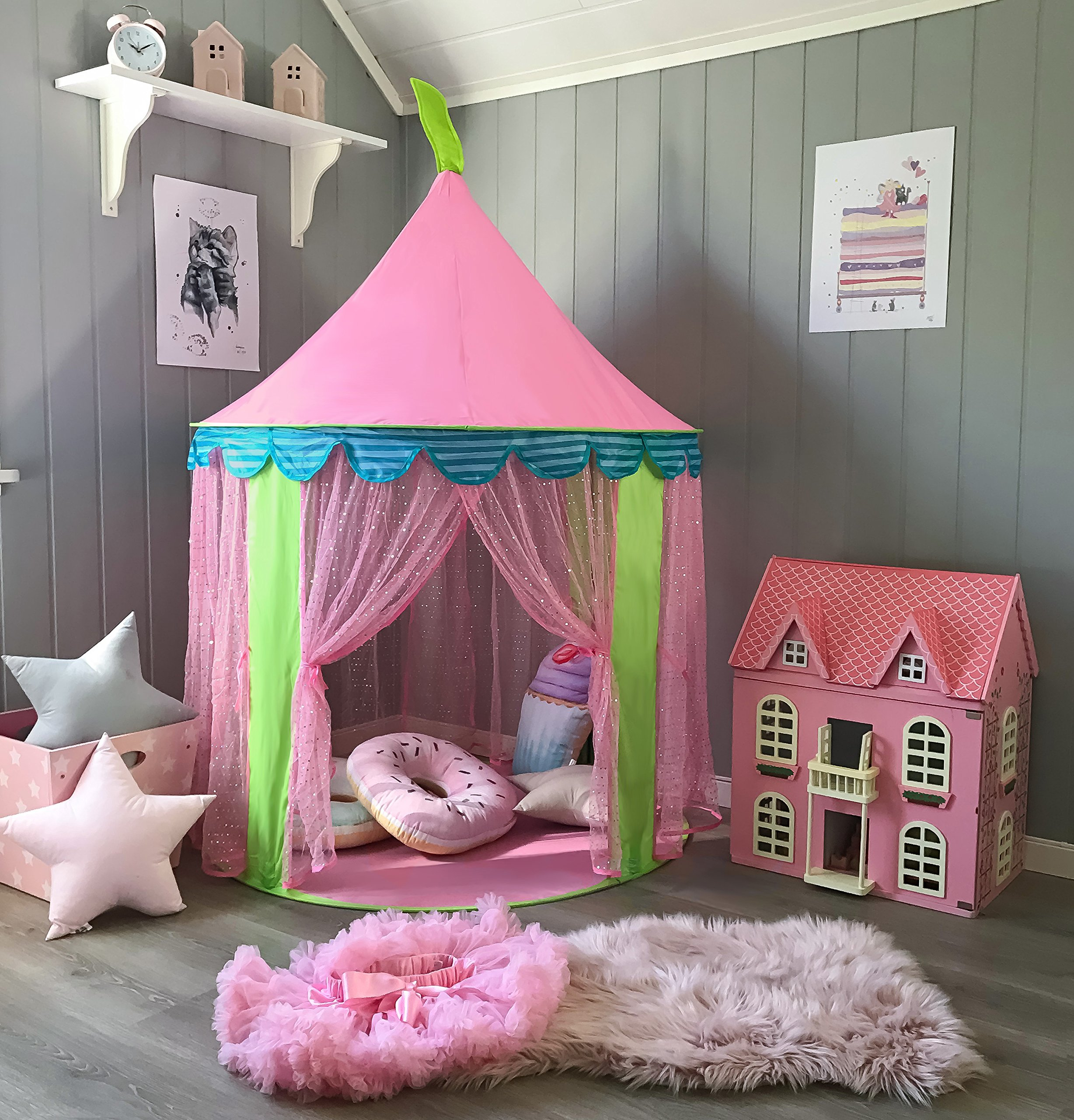Princess Castle Play Tent for Girls Indoor Outdoor Use By Tiny Land