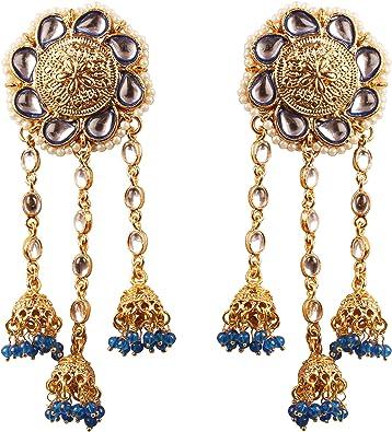 Indian Ethnic Jewelry Gold Tone Pink Quartz Long Traditional Dangle Earring