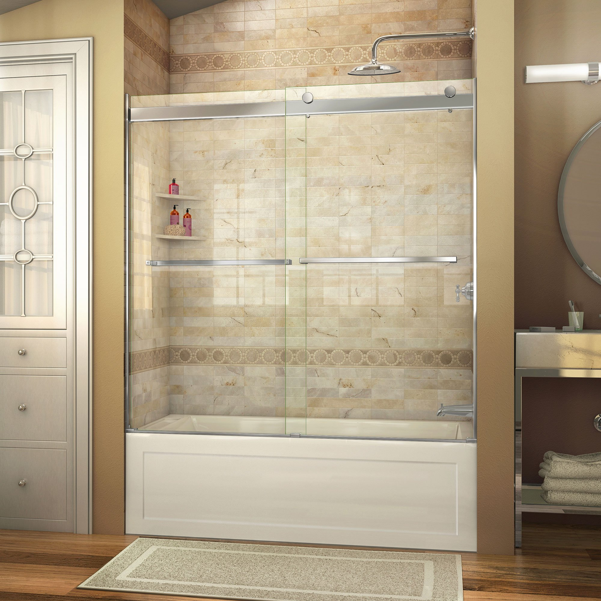 DreamLine Essence 56-60 in. W x 60 in. H Frameless Bypass Tub Door in Chrome, SHDR-6360600-01