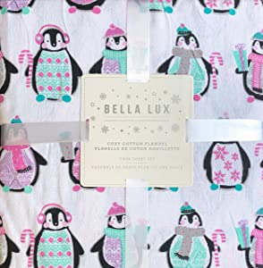 Bella Lux 3 Piece Cotton Flannel Twin Size Sheet Set Penguins with Pastel Christmas Sweaters Scarves Hats Gifts