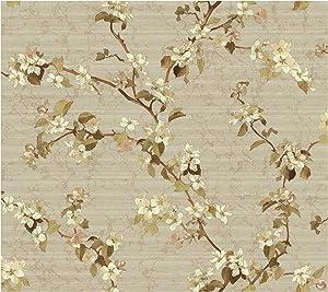 York Wallcoverings DC1302SMP Iridescent Apple Blossom 8 x 10 Wallpaper Memo Sample, Light Khaki