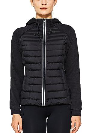 ESPRIT Sports Damen Jacke Sweat&Stepp, Schwarz (Black 001), 44  (Herstellergröße: