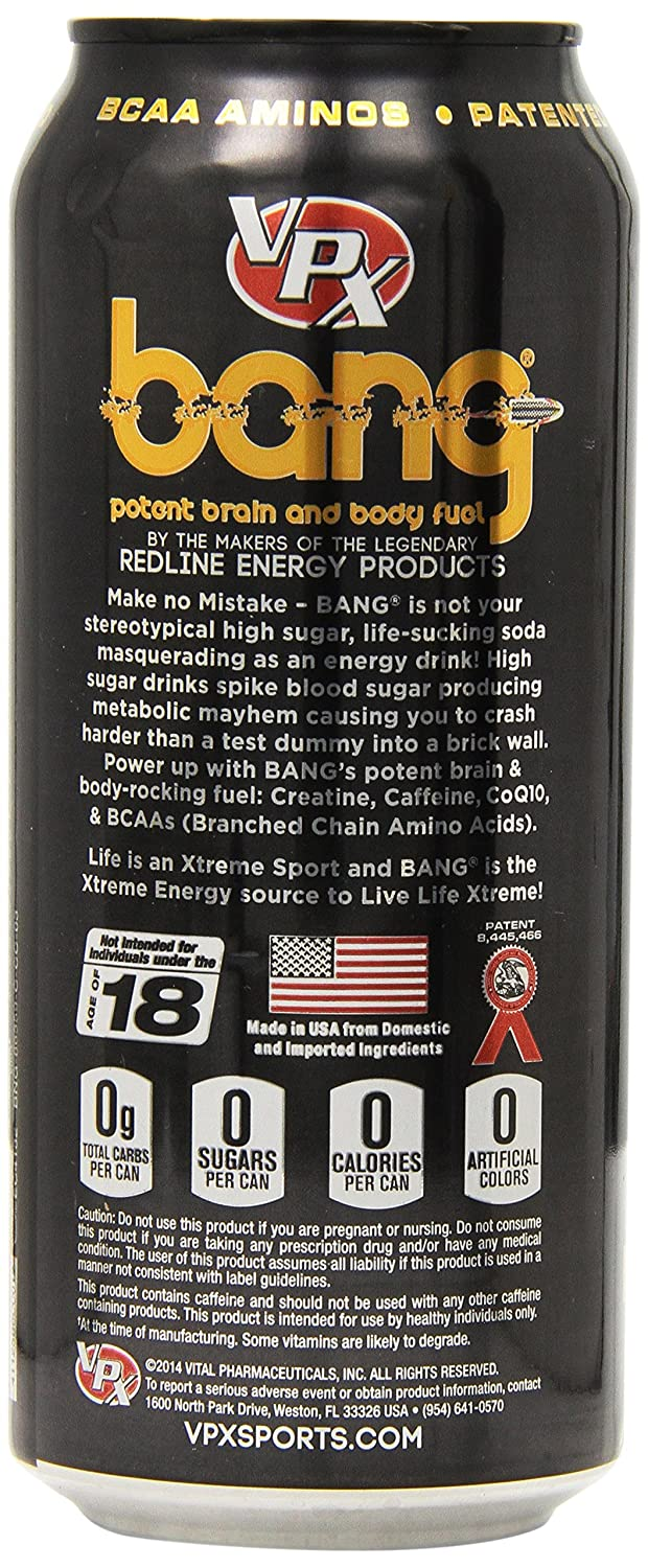 BANG Energy Drink with Zero Calories High Caffeine, Champagne – 12 Drinks – VPX Vital Pharmaceuticals