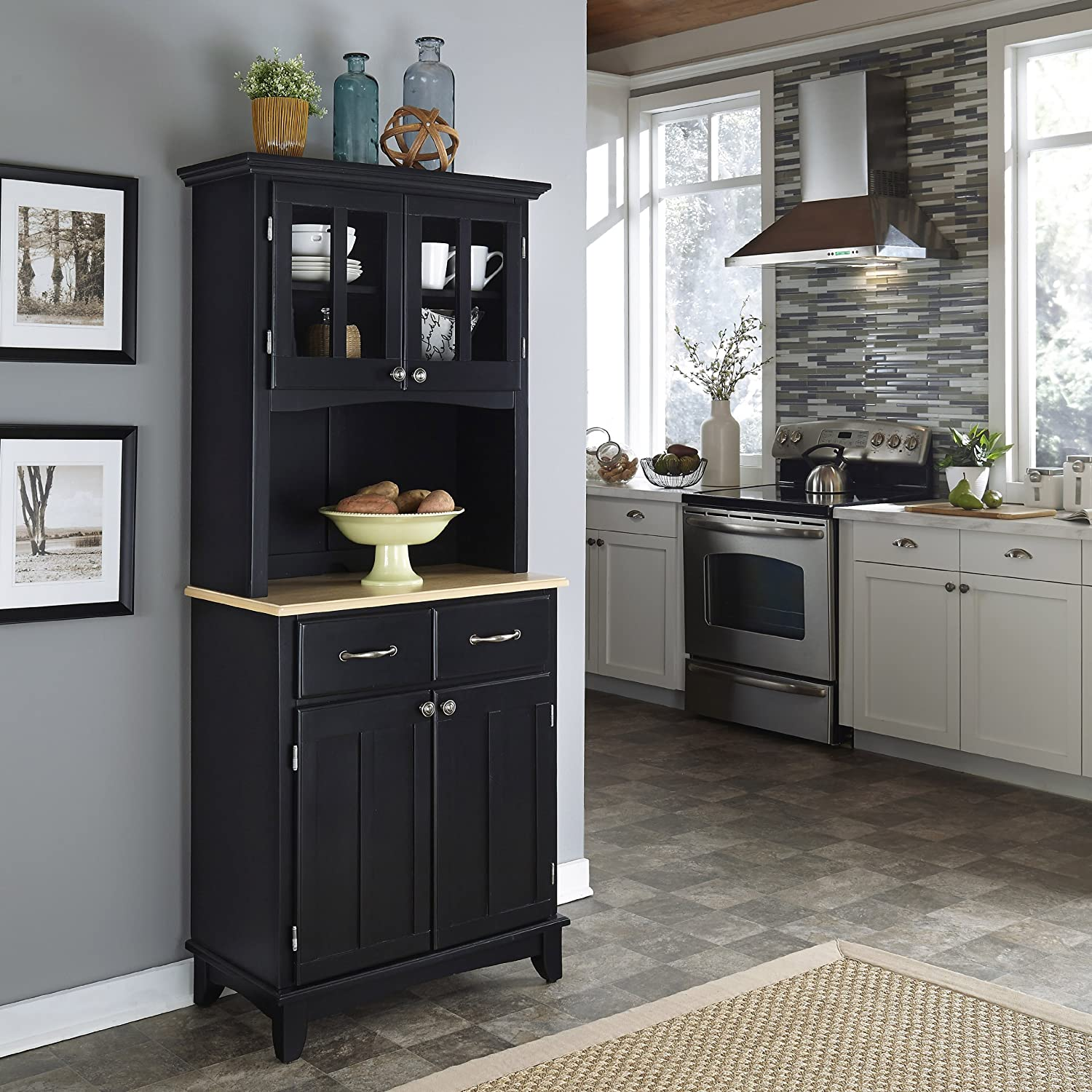 Amazon.com: Home Styles 5001-0041-42 5001 Series Wood Top Buffet Server and  Hutch, Black, 29-1/4-Inch: Kitchen & Dining - Amazon.com: Home Styles 5001-0041-42 5001 Series Wood Top Buffet