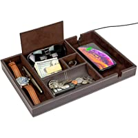 HOUNDSBAY Victory Big Valet Tray for Men with Large Smartphone Charging Station