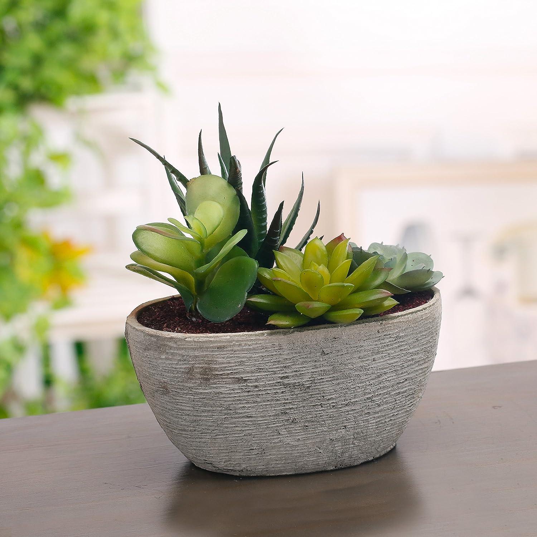 MyGift D/écoratifs Artificielle Arrangement de Fleurs artificielles avec Pot de Fleurs Ovale Gris Jardin