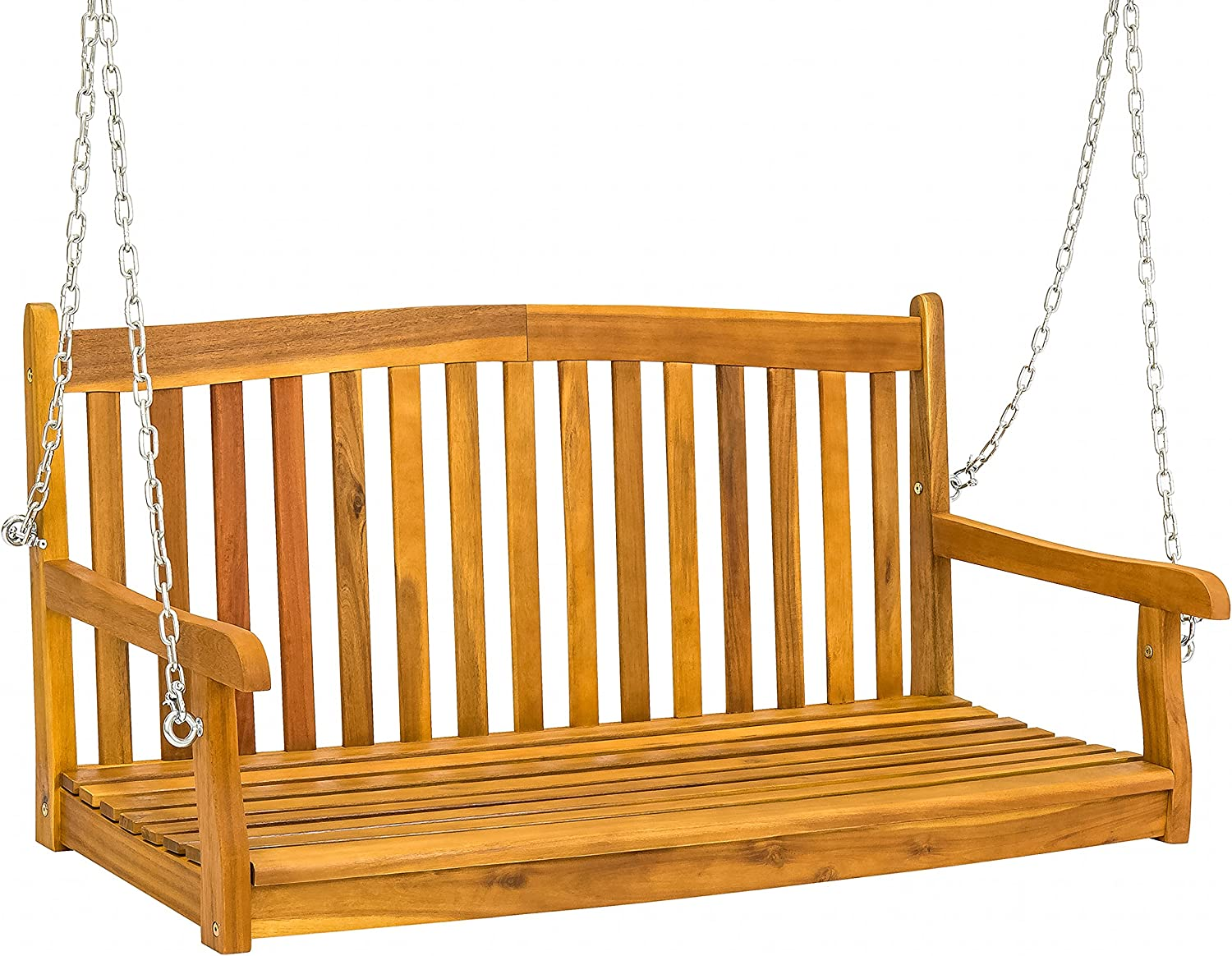Best Choice Products 48in Wooden Curved Back Hanging Porch Swing Bench w Metal Chains for Patio, Deck, Garden – Brown