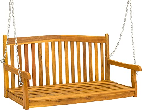 Best Choice Products 48-inch 3-Seater Wooden Curved Back Hanging Porch Swing Bench Conversation Furniture w Metal Chains for Backyard, Front Yard, Patio, Deck, Garden, Brown