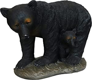 Sunnydaze 21-Inch Mama Bear and Baby Cub Outdoor Garden Statue - Outside Polystone Rustic Lodge Yard Decor - Log Cabin Animal Backyard and Lawn Ornament