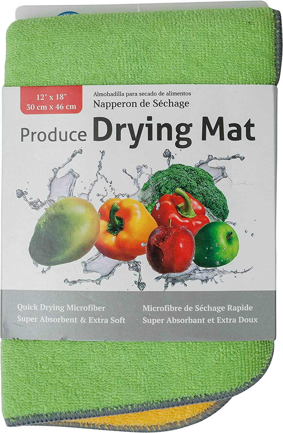 Jacent Microfiber Produce Drying Mat, 12 x 18 inch - 1 Pack