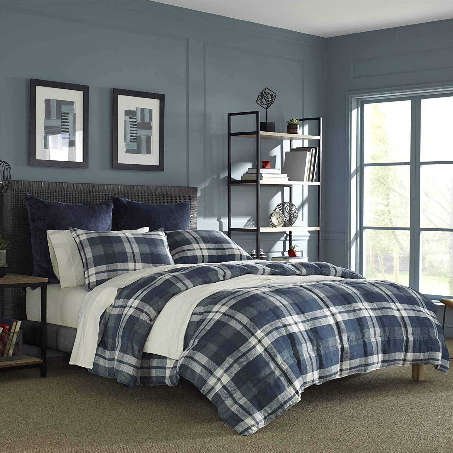 Nautica Crossview Plaid Comforter Set, Full/Queen, Navy