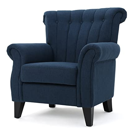 Amazing Romee | Channel Tufted Fabric Club Chair | Dark Blue