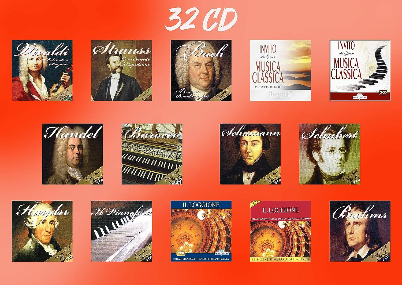 32 CDs Colección de Música Clásica - Vivaldi, Strauss, Bach, Brahms, Handel, Schumann, Schubert, Haydn, Piano, Barroco, Ópera