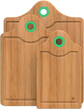 Vremi 3 Piece Bamboo Cutting Board Set   Wood Cutting Boards For Kitchen  With Silicone Storage