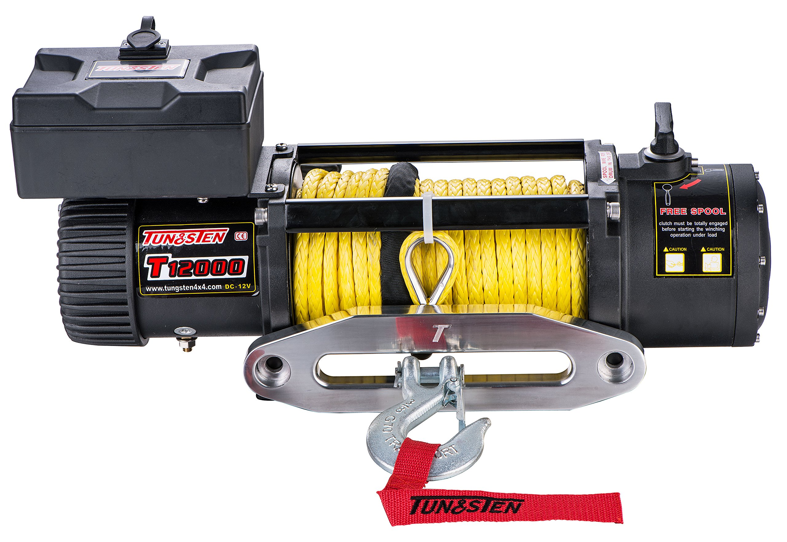 Tungsten4x4 T12000S Offroad 12000 lbs Load Capacity Electric Winch with Synthetic Rope, Hawse Fairlead and Handheld Remote