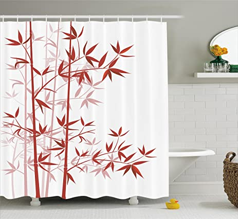 Amazon.com: Bamboo Shower Curtain by Ambesonne, Illustration Of ...