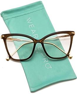 3566ad7a4 WearMe Pro - New Elegant Oversized Clear Cat Eye Non-Prescription Glasses