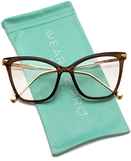 06905d3af9 Amazon.com  WearMe Pro - New Elegant Oversized Clear Cat Eye Non-Prescription  Glasses (Clear Brown