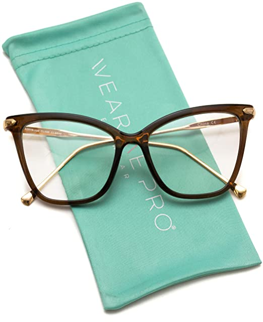 2bff51d217be Amazon.com  WearMe Pro - New Elegant Oversized Clear Cat Eye  Non-Prescription Glasses (Clear Brown