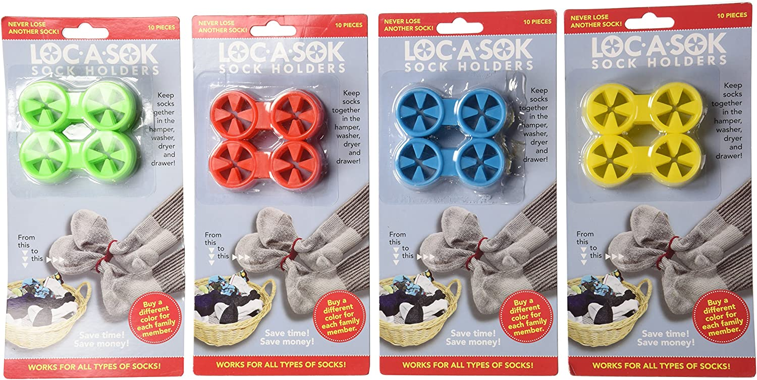 Loc A Sok Sock Locks (Pack of 40 - Green, Blue, Red and Yellow)