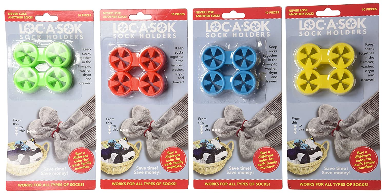 Loc A Sok Sock Locks (Pack of 40 - Green, Blue, Red and Yellow) SockLocks