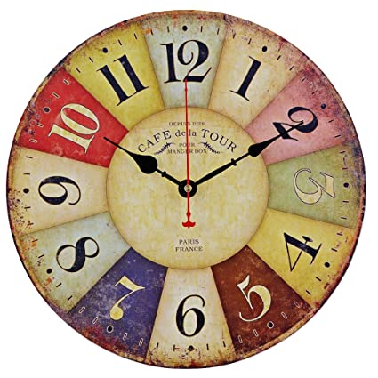 Amazon.com: Old Oak Large Decorative Wall Clock Vintage Silent Non ...