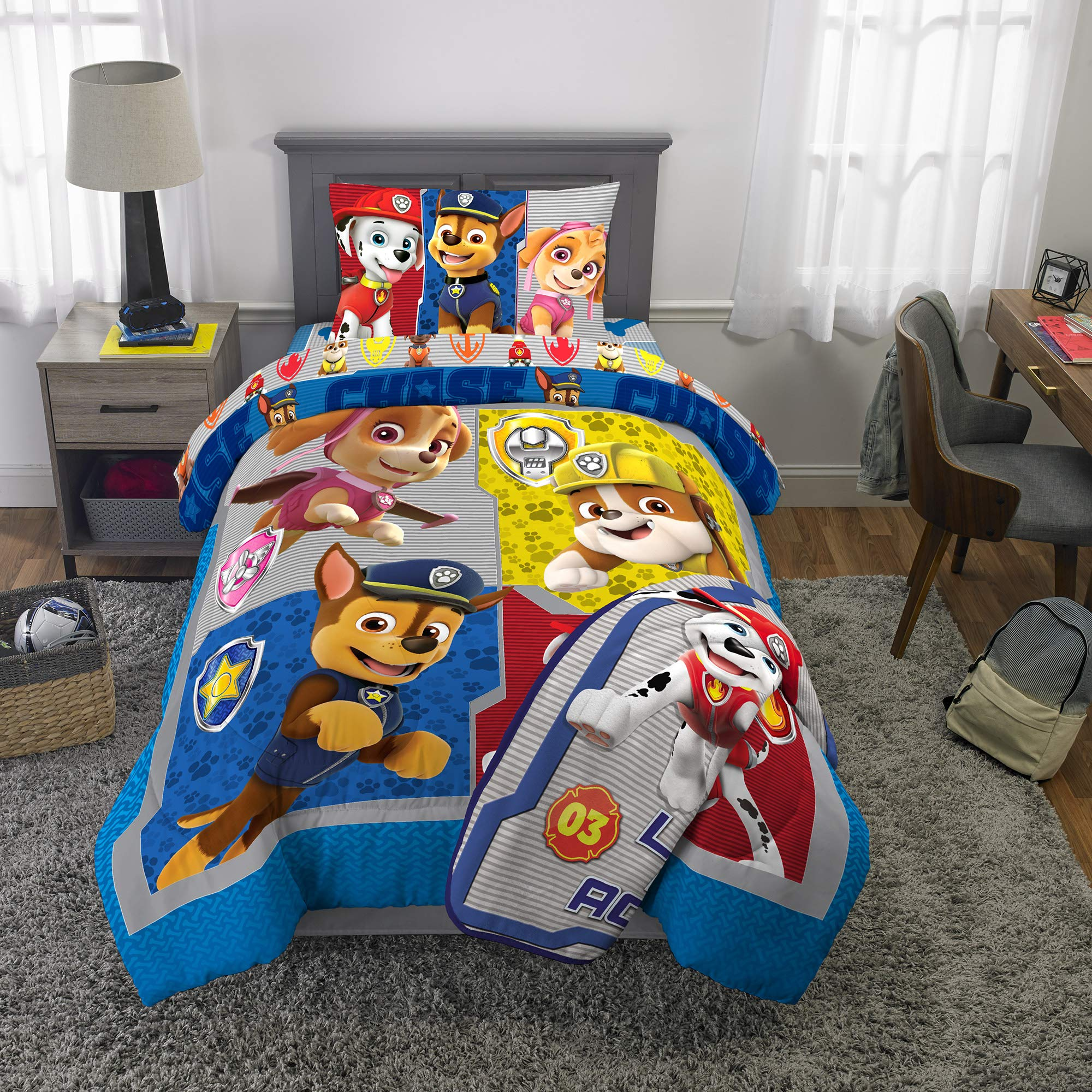 Nickelodeon Paw Patrol Super Soft Kids Bedding Set, 5 Piece Twin Size, Includes Grey Leap Into Action Throw by Nickelodeon
