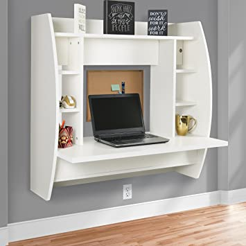 Superior Best Choice Products Wall Mount Floating Computer Desk With Storage Shelves  Home Work Station  White