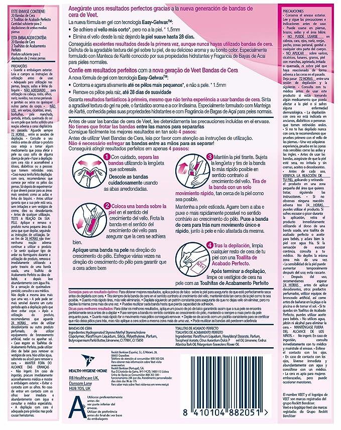 Veet Bandas de Cera Depilatoria -Easy Gelwax, Pieles Normales 20 bandas: Amazon.es: Belleza