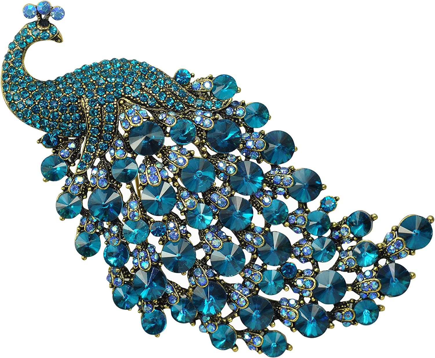 LARGE Turquoise And Blue Diamante Crystal Rhinestones PEACOCK Brooch Pin Gift