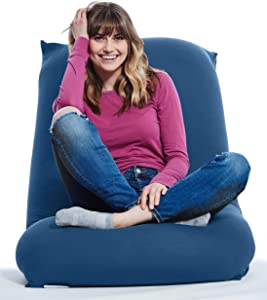 Yogibo Short Bean Bag Chair for Teens, Adults, Plush, Soft Lounge Beanbag for Gaming, Reading, and Relaxing, Removable, Washable Outer Cover, Blue