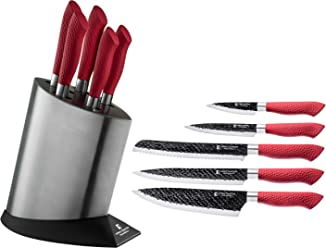 Imperial Collection IM-KST10 RED Stainless Steel Kitchen Cutlery Knife Set with Knife Block and
