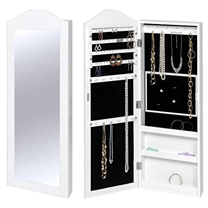 Bon Best Choice Products Wall Mounted Mirror Jewelry Cabinet Armoire White