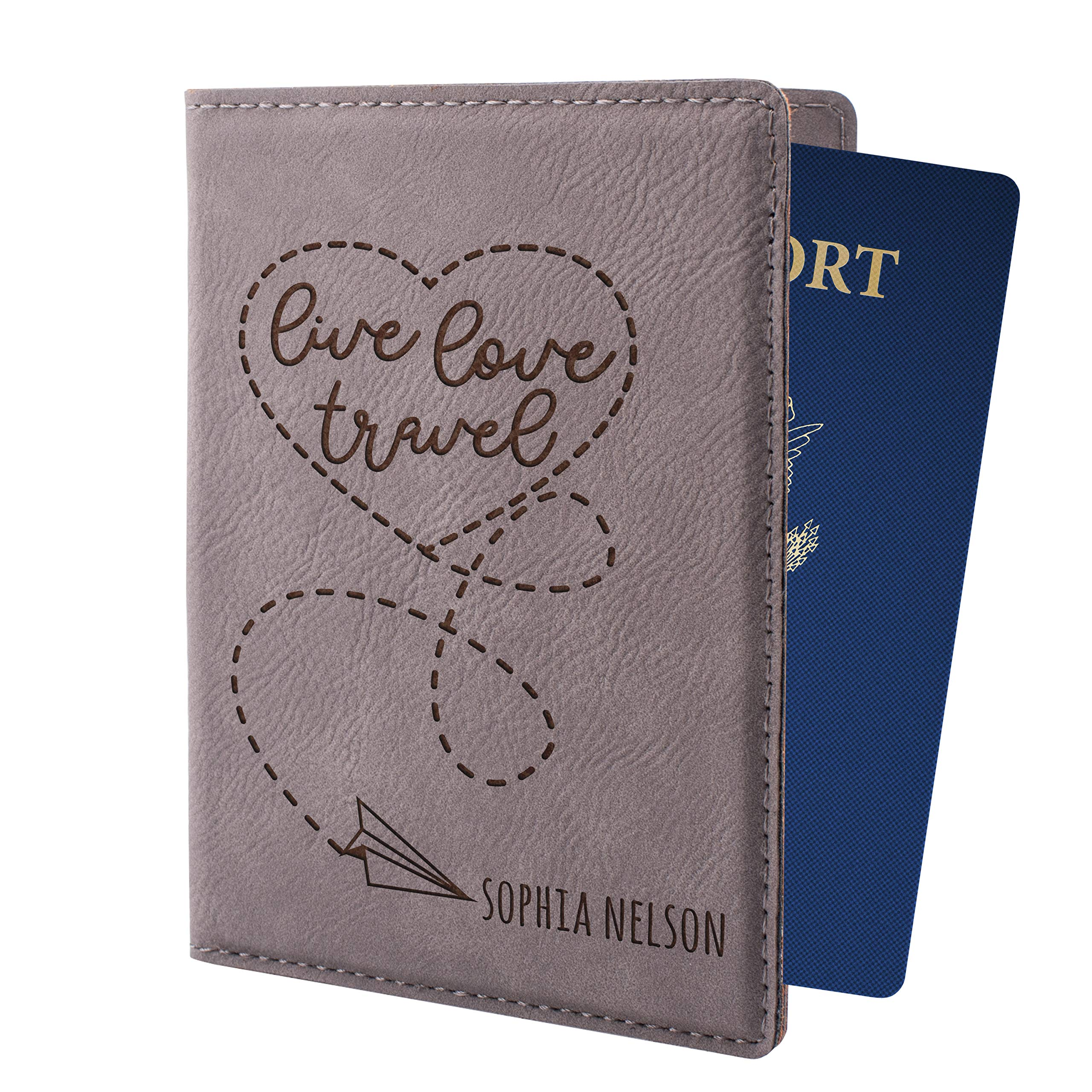 Personalized Passport Holder for Women Man Custom Passport Cover 8 Different Colors Customizable With Name Christmas Traveler Gifts For Women Men | Live Love Travel