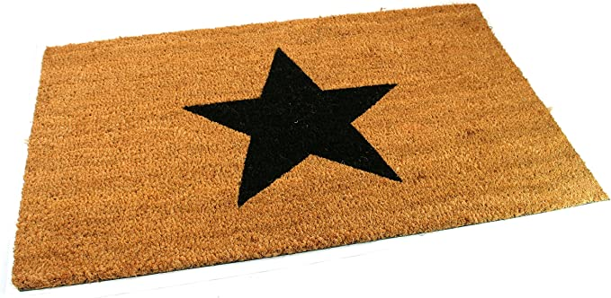 Large Thick Decorative Patterned Coir Door Mats With Nature Designs Black Star Amazon Co Uk Kitchen Home