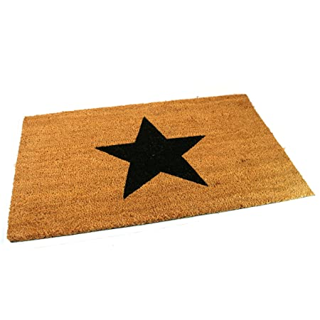 Large, Thick, Decorative, Patterned Coir Door Mats With Nature Designs  (Black Star