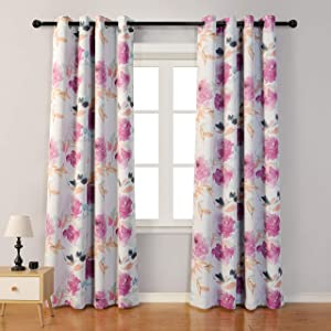 MYSKY HOME Printed Floral Curtains 84 Inch Length,Light Filtering Room Darkening Curtains Thermal Insulated Grommet Curtain Panels for Living Room,Bedroom,Patio Door,52