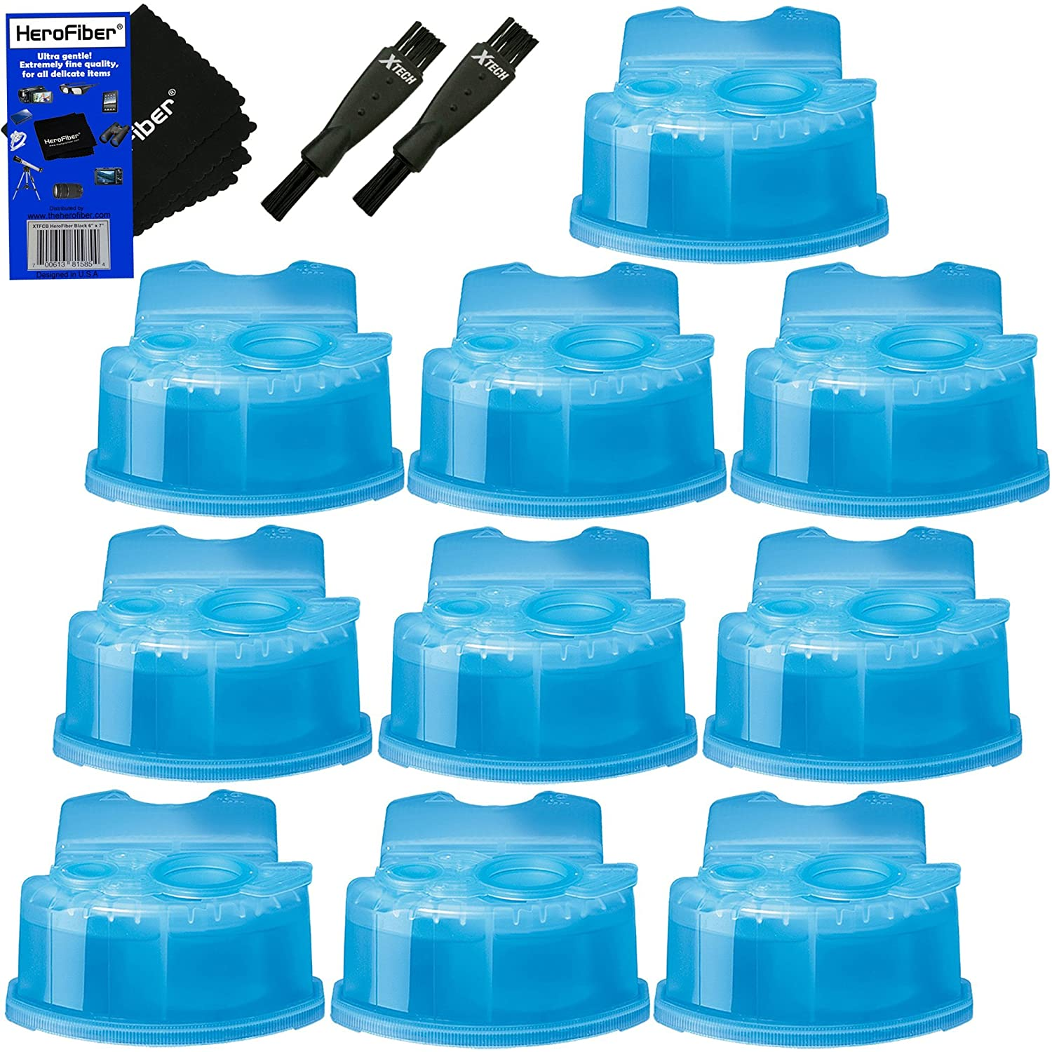 Braun Clean & Renew Refill Cartridges, Replacement Cleaner, Cleaning Solution (10 pack) for Series 3, Series 5, Series 7 & Series 9 + Double Ended Shaver Brush + HeroFiber Ultra Gentle Cleaning Cloth