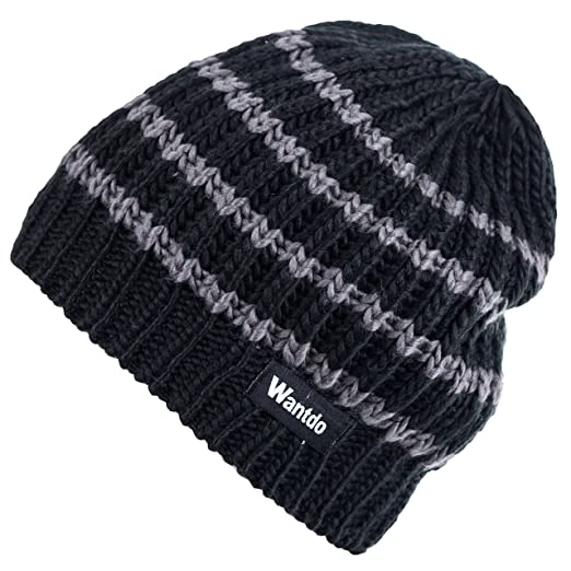 bd9a91d9e26 Wantdo Women s Striped Thick Slouchy Skull Knitted Ski Winter Beanie Hat  Black