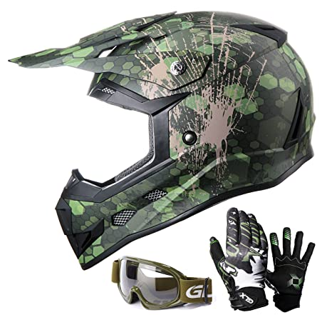 GLX DOT Youth Kids Motocross Dirt Bike Helmet BMX ATV Off-Road Motorcycle  Helmet+Gloves+Goggles (Large, Camouflage Green)