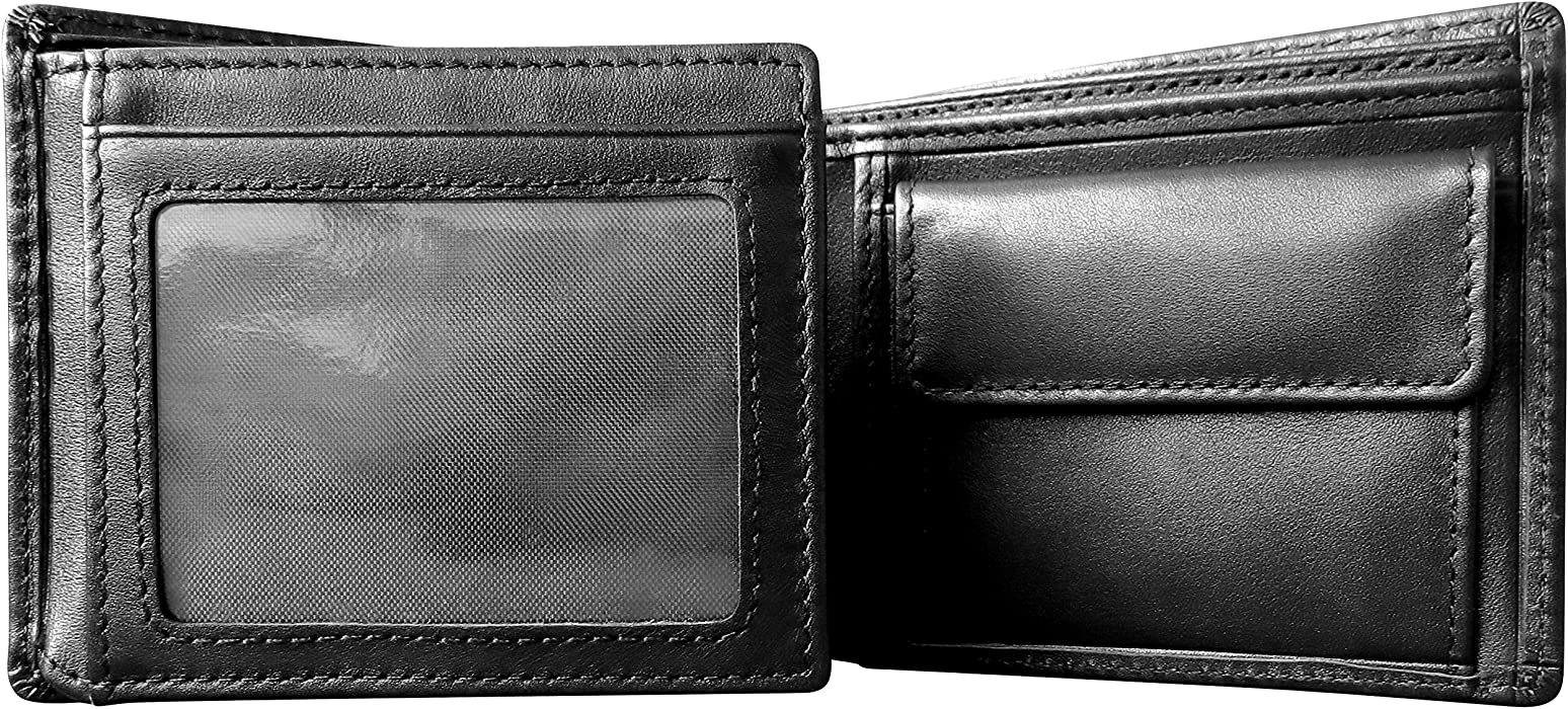 Gift Box For Men Mt 18 Pocket Extra Capacity Eston RFID Blocking Trifold Bifold Mens Leather Wallet High-End Build