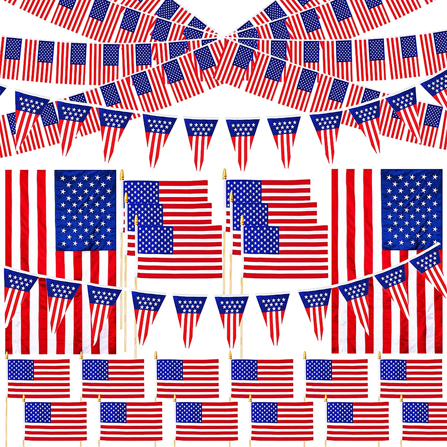 23 Pcs Assorted Patriotic American Flag Outdoor Decorating Kit USA American Flag Lawn Garden Flag on Sticks Plastic Flag Banner Pennant Banner for 4th of July Patriotic Party Parade Float Decorations