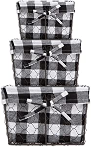 DII Vintage Chicken Wire Baskets for Storage Removable Fabric Liner, Assorted Set of 3, Black & White Check 3 Piece