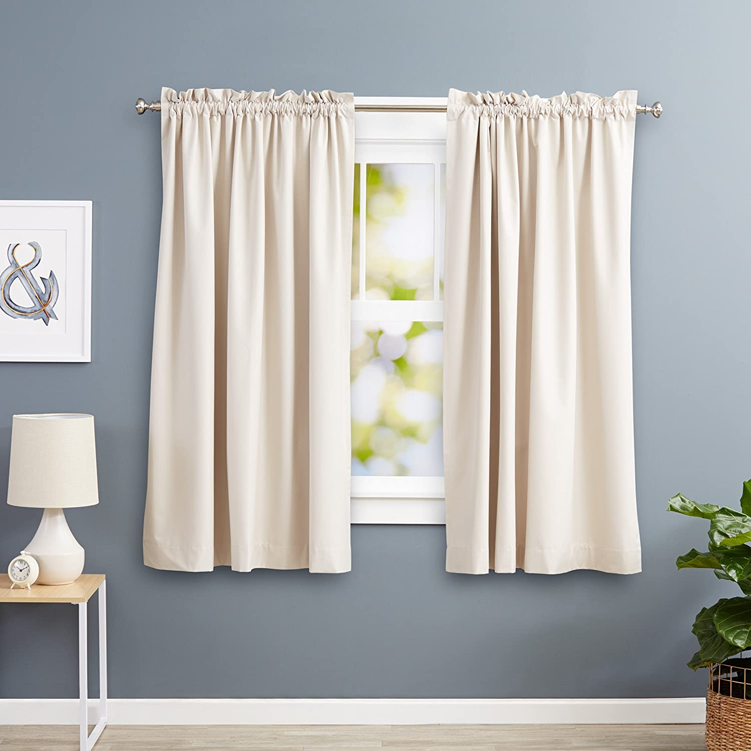 AmazonBasics Room Darkening Thermal Insulating Blackout Curtain Set Beige