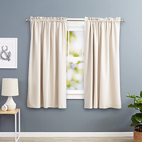 AmazonBasics Room Darkening Thermal Insulating Blackout Curtain Set With  Tie Backs   52 X 63 Inches