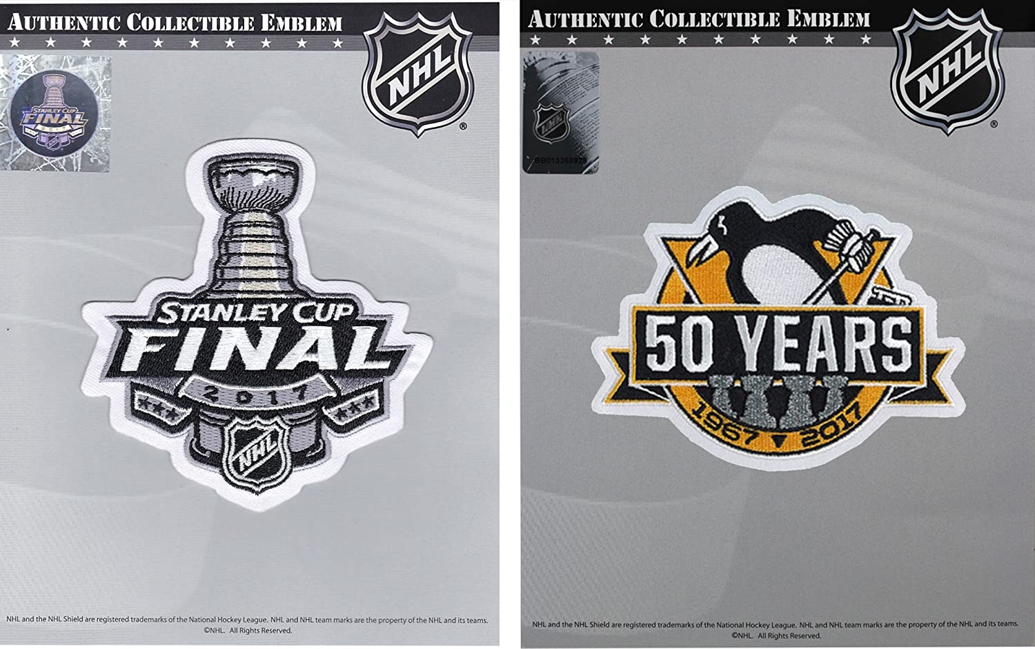 ee0a6dd7b Amazon.com   2017 Stanley Cup Final   Pittsburgh Penguins 50th Anniversary  Jersey Patch Combo   Sports   Outdoors