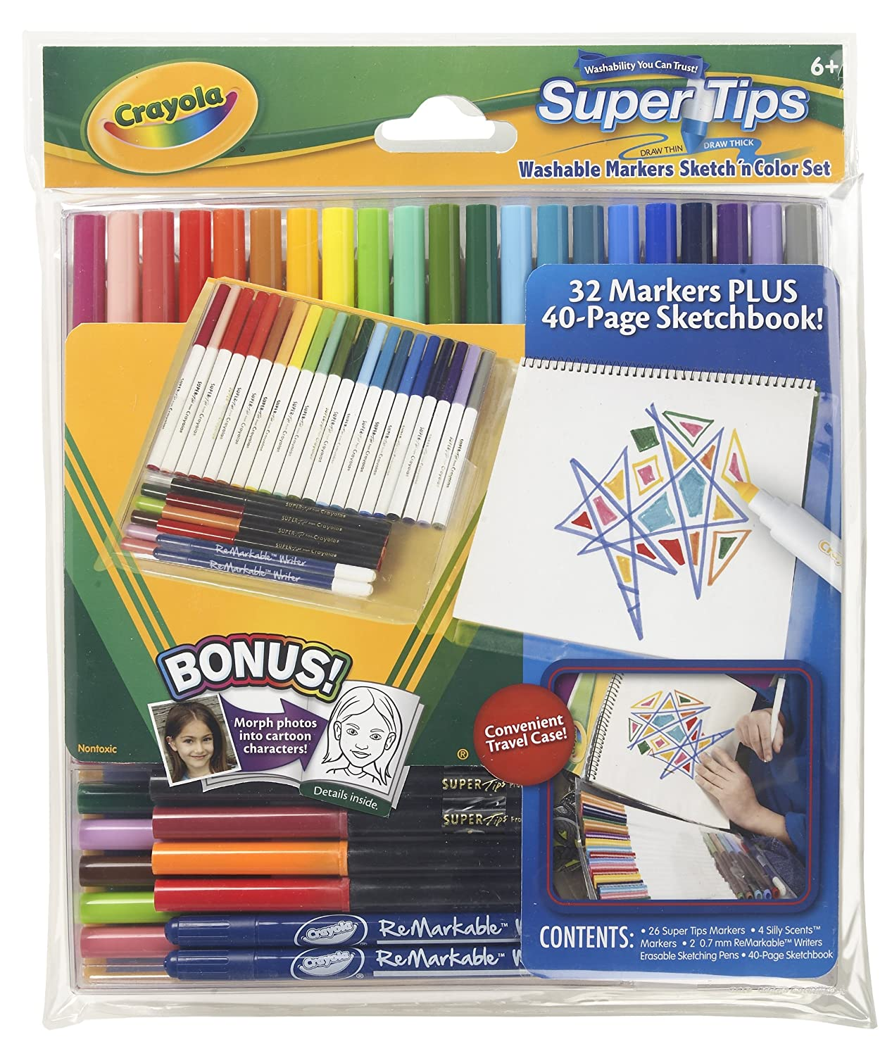 Amazoncom Crayola Supertips Marker Sketch N Color Set Toys Games