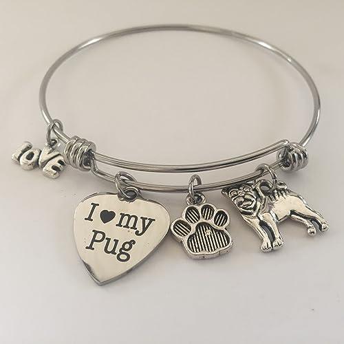 Pug Dog charm bracelet