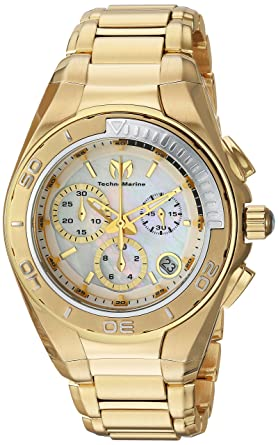 Technomarine Womens Manta Swiss Quartz Stainless Steel Casual Watch, Color:Gold-