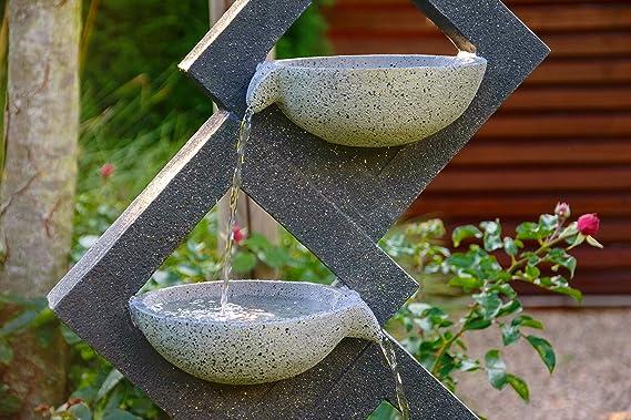 41,5 x 20,5 x 100,5 cm 96180e XL-Brunnen mit 4 Wasserschalen aus Kunststein Grau dobar Gro/ß er Design Gartenbrunnen mit Pumpe und LED/´ s